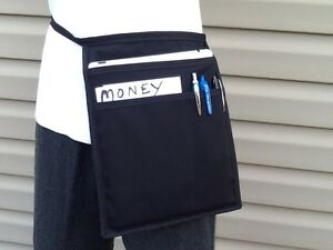 Black 10 top Pocket I Pad Hip Side Apron Waiter Waitress Money Pouch
