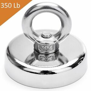 Fishing Magnet 200 Lbs Super Strong Neodymium Round Thick Eye Bolt 1 89 Inch