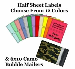 6x10 Camo Poly Bubble Mailers 8 5x5 5 Half Sheet Self Adhesive Shipping Labels