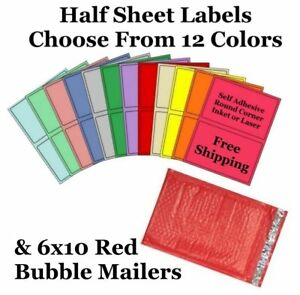 6x10 Red Poly Bubble Mailers 8 5x5 5 Half Sheet Self Adhesive Shipping Labels
