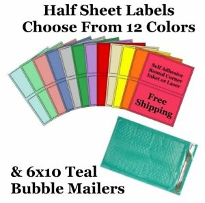 6x10 Teal Poly Bubble Mailers 8 5x5 5 Half Sheet Self Adhesive Shipping Labels