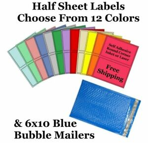6x10 Blue Poly Bubble Mailers 8 5x5 5 Half Sheet Self Adhesive Shipping Labels