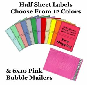 6x10 Pink Poly Bubble Mailers 8 5x5 5 Half Sheet Self Adhesive Shipping Labels