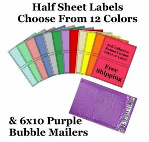 6x10 Purple Poly Bubble Mailers Half Sheet Self Adhesive Shipping Labels