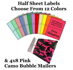 4x8 Pink Camo Poly Bubble Mailers Half Sheet Self Adhesive Shipping Labels