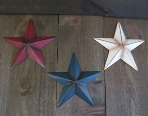 Set Of 3 Red White Blue Primitive 6 Barn Stars Metal Patriotic Americana Usa