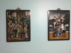 Superb Rare Pair Of 2 Chinese Reverse Paintings On Glass Hand Painted