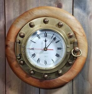 Vintage Nautical Quartz Clock Ships Brass Wit Beautiful Natural Wood Framing