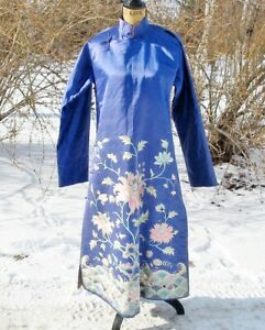 Embroidered Antique Chinese Periwinkle Silk Wadded Winter Robe Rockery Waves