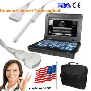 Fda ce Portable Laptop Ultrasound Scanner Machine 3 Probes Diagnostic System new