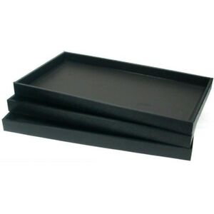 6 Black Leather Jewelry Display Trays Showcase Displays