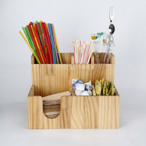 Wooden Cup Office Lid Dispenser Holder Coffee Condiment Caddy Rack Organizer