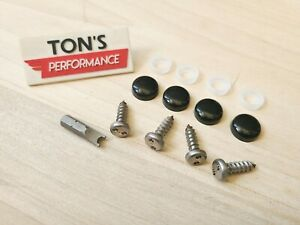 4 Theft Deterrent Auto Security License Plate Screws Stainless Steel Black Caps