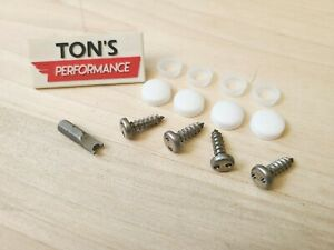 4 Theft Deterrent Auto Security License Plate Screws Stainless Steel White Caps