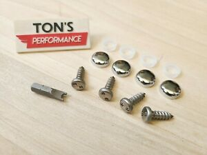 4 Theft Deterrent Auto Security License Plate Screws Stainless Steel Chrome Caps