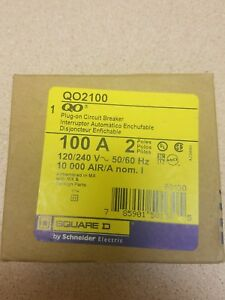 New Square D Qo2100 100 Amp Two Pole Qo Circuit Breaker 120 240v