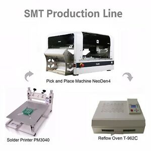 Smt Line Pick And Place Machine Neoden4 25 Feeders solder Printer reflow Oven