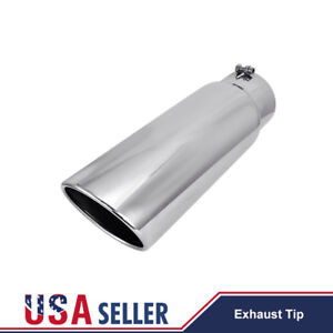 Diesel Stainless Steel Exhaust Tip Angle Cut 5 Inlet 6 Outlet 18 Long Bolt On