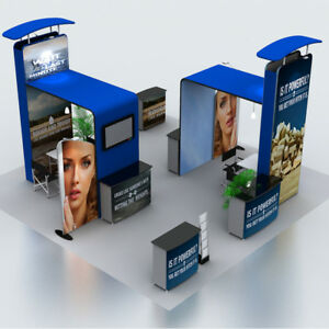 20ft Custom Portable Fabric Trade Show Display Booth Sets With Counter Tv Stand