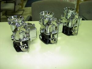 3 Brand New 1932 Ford Roadster Big Big97 Stromberg 97 Carb Tri Power Chrome