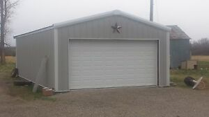 24 x24 x9 Steel Garage workshop Building Kit Excel Metal Building Systems Inc