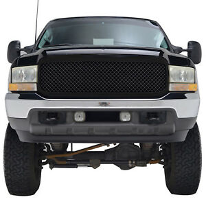 99 04 Ford F250 F350 Super Duty Mesh Grille Glossy Black Abs Replacement