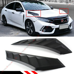 For 2016 18 10th Gen Honda Civic Blk Jdm Hood Bonnet Long Side Louver Vent Decor