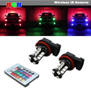 7 Colors Rgb H11 H8 Led Bulbs With Wireless Ir Remote For Fog Light Driving Lamp