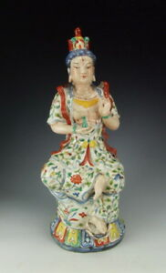 Chinese Antique Five Colored Porcelain Kuanyin Buddha Statue