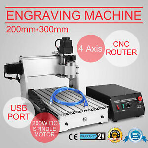 Top 4 Axis Cnc Router Engraver Usb Engraving Drilling Milling Machine 300w 3020