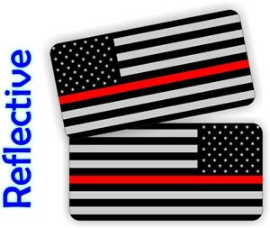 Reflective Firefighter American Flag Hard Hat Stickers Helmet Decals Red Line