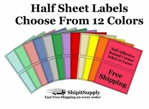 Colored Shipping Labels 8 5x5 5 Half Sheet Self Adhesive Ebay Paypal Usps Stamps