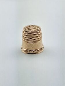 Antique 10k Scroll Pattern Rose Gold Stern Bros Thimble Size 4 1 2