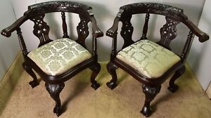 1890s Antique Pair Of Chippendale Solid Mahogany Corner Chairs New Upholstery