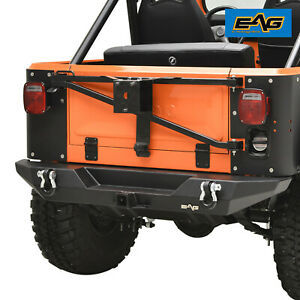 Eag Stubby Rear Bumper With Hitch Receiver Black Fit 76 86 Jeep Wrangler Cj