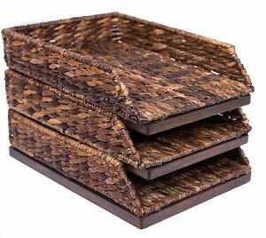 Birdrock Home Seagrass Paper Tray Hand Woven Set Of 3 Desk Organize New