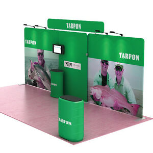 20ft Tension Fabric Trade Show Display Waveline Booth Backdrop Wall Stand 30
