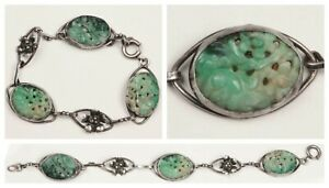 Beautiful Vintage Carved Pierced Jade Sterling Silver Chinese Link Bracelet