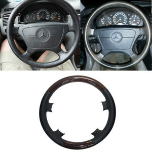 Black Leather Wood Steering Wheel Cover Mercedes 91 98 W140 S Class 93 95 W124 E