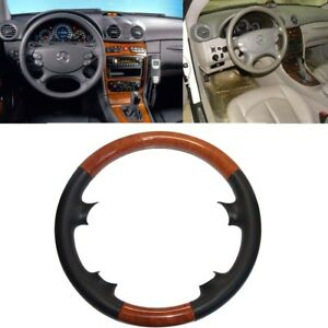 Leather Brown Wood Steering Wheel Cover Mercedes 03 09 W209 Clk R230 Sl W219 Cls