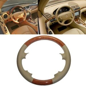 Leather Brown Wood Steering Wheel Cover Benz 2003 09 W209 Clk R230 Sl W219 Cls
