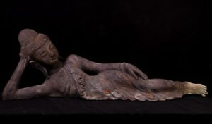 Old Bronze Reclining Buddha Statue From Burma Antique Buddha Statues