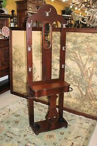 Antique Mahogany Wood Hall Tree Stand With Mirror Coat Stand Entryway Furniture