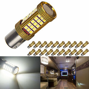 20 X Super Bright 1156 1141 1003 Ba15s 66 smd Rv Camper Interior Led Light Bulbs