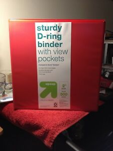 12 New Sturdy D ring 2 Binder With View Pockets Holds 500 Sheets 8 1 2 X 11
