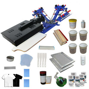 3 Color Silk Screen Printing Press Kit Flash Dryer Frame Coater T shirt Printer