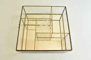 Vtg Brass Glass Mirror Curio Cabinet Swan Etched Glass Cube Shelf Mid Century