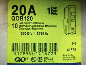 10 New Square D Qob120 20a 1p 120 240v Bolt On Circuit Breakers