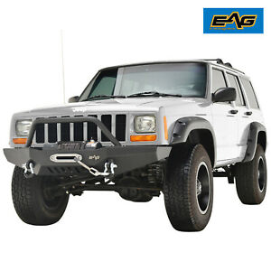 Eag 1984 2001 Jeep Cherokee Xj Front Bumper With Winch Plate Black Textured
