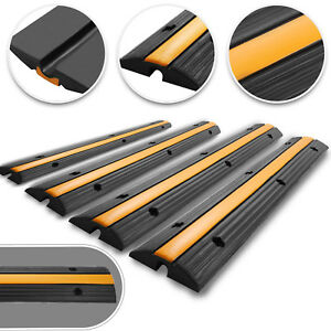 4pcs 1 channel Rubber Cable Protector Ramp Safety Electrical Vehicle Wire Cover